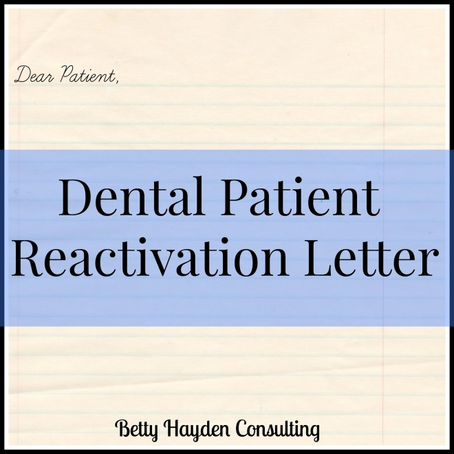 dental patient reactivation letter
